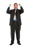 Businessman:  Cheering Businessman. Series of a Hispanic businessman in suit, isolated on white, with props, in various poses Royalty Free Stock Images