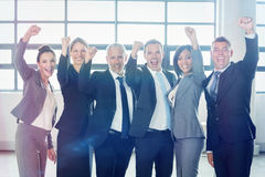 Businessman cheering with clenched fist Royalty Free Stock Photo