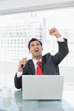 Businessman cheering in front of laptop at desk Stock Images