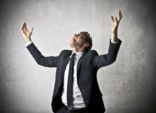 Businessman cheering Royalty Free Stock Photo