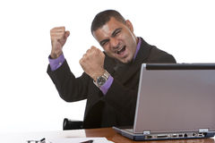 Businessman is cheering in office stock photo