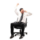 Businessman cheering Stock Photos