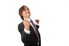 Businessman cheering Royalty Free Stock Photography