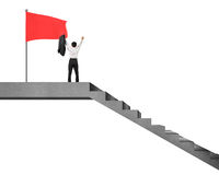 Businessman cheering on stairs top with flag isolated in white Stock Images
