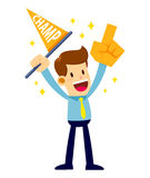 Businessman Cheering Supporting While Waving Flag And Hand Foam. Vector stock of a businessman cheering while holding champion flag and hand foam Royalty Free Stock Photos