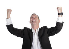 Businessman cheering Royalty Free Stock Photos