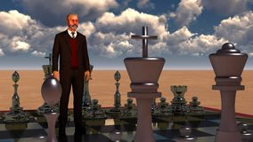 Businessman with chess board. Brainstorming concept 3d rendering. Bearded businessman with chess board. Brainstorming concept Royalty Free Stock Photos