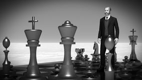 Businessman with chess board. Brainstorming concept 3d rendering. Bearded businessman with chess board. Brainstorming concept Royalty Free Stock Photo