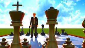 Businessman on chess board Stock Photo