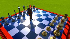 Businessman on chess board Stock Photography
