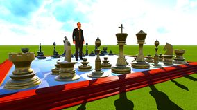 Businessman on chess board Stock Images