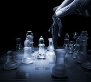 Businessman on a chessboard as a dummy Royalty Free Stock Images