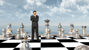 Businessman on a chessboard. Computer generated 3D illustration with a businessman on a chessboard royalty free illustration