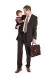 Businessman with child. On white background Royalty Free Stock Photography