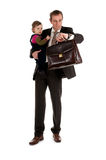 Businessman with child. On white background Stock Photos