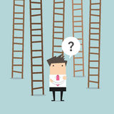 Businessman choices ladder to success Royalty Free Stock Photography
