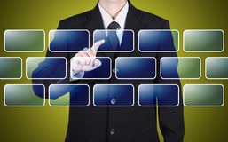Businessman choose blank button instant Royalty Free Stock Photography