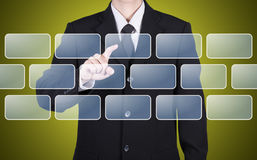 Businessman choose blank button instant Stock Image