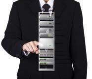 businessman choose main server on rack network server Royalty Free Stock Photography