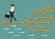 Businessman chooses the right path. Success, career. Business concept cartoon illustration. Stock Image