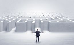 Businessman choosing between entrances at the edge of a maze Royalty Free Stock Image