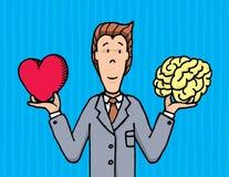 Businessman choosing between heart and brain Stock Photography