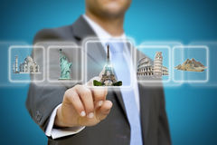 Businessman choosing his holidays concept Stock Photography