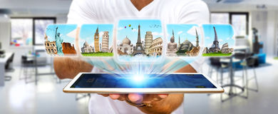 Businessman choosing his holidays between different places of th Royalty Free Stock Photography