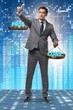The businessman choosing pros and cons. Businessman choosing pros and cons royalty free stock image