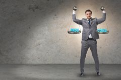 The businessman choosing pros and cons. Businessman choosing pros and cons stock photography