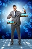 The businessman choosing pros and cons. Businessman choosing pros and cons royalty free stock images