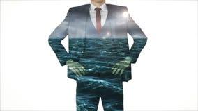 Businessman with choppy ocean overlay stock footage
