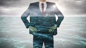 Businessman with choppy ocean overlay stock video