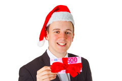 Businessman with chrismas hat Stock Photos