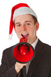 Businessman with chrismas hat Stock Image