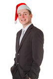 Businessman with chrismas hat Royalty Free Stock Image