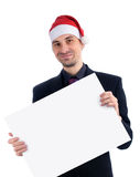 Businessman in a christmas hat Royalty Free Stock Photo