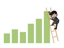 Businessman cilmb ladder to top graph. Businessman on ladder climbing on chart Stock Photo