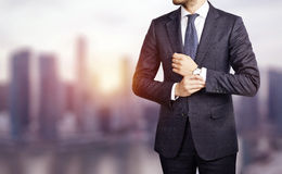 Businessman on the city background Royalty Free Stock Photos