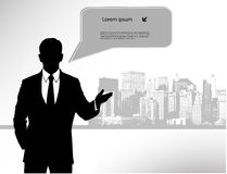 Businessman on city background Royalty Free Stock Images