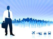 Businessman with city on blue background Royalty Free Stock Photo