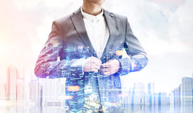 Businessman in a city Royalty Free Stock Images