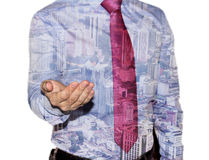 Businessman with city double exposure Stock Photography