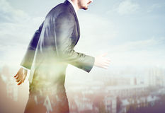 Businessman and the city modern style stock image