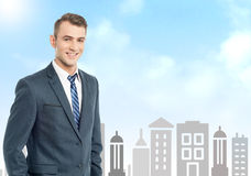 Businessman with city skyline background. Smiling businessman standing on city background vector illustration