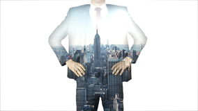 Businessman with city and skyscraper overlay stock video footage