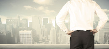 Businessman with city view Royalty Free Stock Photo
