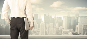 Businessman with city view Stock Photo