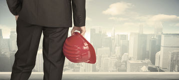 Businessman with city view Stock Photos