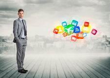 Businessman with  cityscape on the background Stock Image